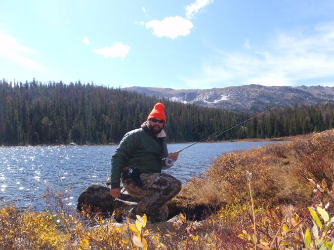 KG fishing high country lakes in Wyoming.